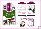 Elegant Mistletoe Double Pocket Library Card and Tags Set