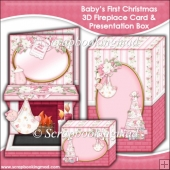 Baby's First Christmas 3D Fireplace Card & Presentation Box