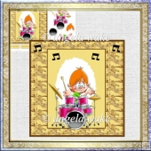Drummer boy card with decoupage