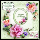 "Roses & Sweet Violets - 6"" x 6"" Card Topper + Decoupage & Tags"