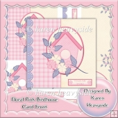 Floral Pink Birdhouse Card Front