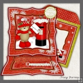 Easel Card Xmas Bear Postbox
