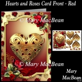 Hearts and Roses Card Front - Red