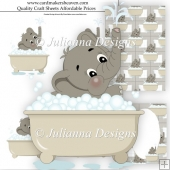 Baby Elephant in bath Decoupage Set