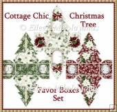 Cottage Chic Christmas Tree Favor Boxes Set