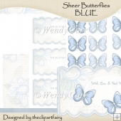 Ready to Print Sheer Butterflies BLUE(Retiring in July)