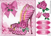 Pink polkadot shoe with bow and roses 8x8