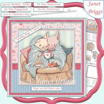 SENDING HOGS 'N' KISSES 7.5 Decoupage & Insert Kit All Occasions