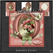 Vintage Flowers With A Bow Red 1285