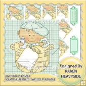Baby Boy In Basket Square Alternate Twisted Pyramage