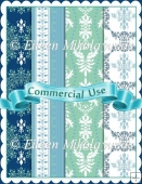 Commercial Use Blue Green Damask Backing Papers
