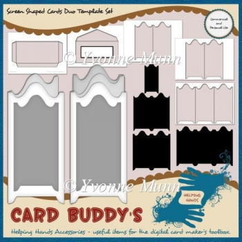 Screen Shaped Cards Duo Template Set – CU/PU