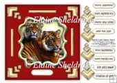Red & Gold Chinese Tigers 7.5 x 7.5 Card Topper Decoupage & Tags