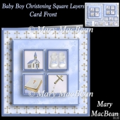 Baby Boy Christening Square Layers Card Front