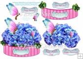Hydrangea Flowers & Butterfly Shaped Card Topper With Decoupage