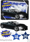 Black sports car with blue for birthday