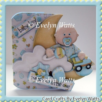 Over The Moon Baby Boy Card Kit Caucasian and Ethnic baby