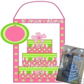 3D 3 Tier Pink & Lime Green Square Birthday Cake & Display Box