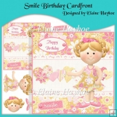 Smile Birthday Cardfront with Decoupage