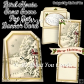 Bird House Snow Scene Pop Out Banner Card & Envelope