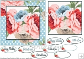 Blue dotts roses 6 inch card topper 103