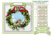 Christmas Holly Wreath Robin Card Topper & Tags