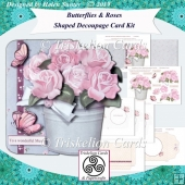 Butterflies & Roses Shaped Decoupage Complete Card Kit