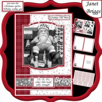 GRUMPY OLD MAN A5 Humorous Christmas Decoupage & Insert Kit