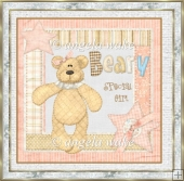 Birthday Bear 7x7 card with decoupage