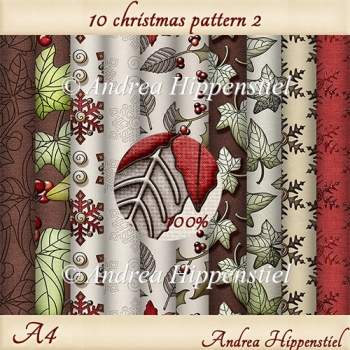 10 x A4 christmas pattern 2 background paper