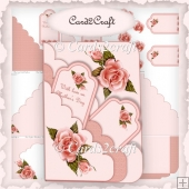 Pink rose tag card set