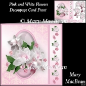 Pink and White Flowers Decoupage Card Front