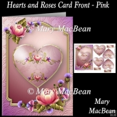 Hearts and Roses Card Front - Pink