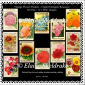 Twelve Vintage Flower Packets - Set One - Printable Clipart