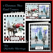 2 Christmas Alice Card Toppers
