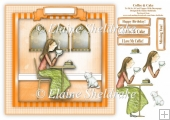 Coffee & Cake - Card Topper With Decoupage