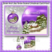 Silver And Lilac Snow Scene Christmas Card Front