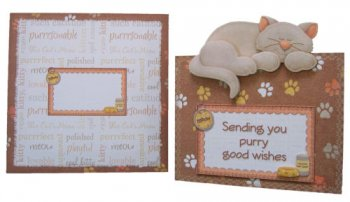 Cat Napping Decoupage Portrait Fold Over The Top Card Kit