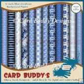 Twelve 12x12 Blue Christmas Background Papers