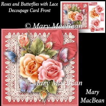 Roses and Butterflies with Lace Decoupage Card Front