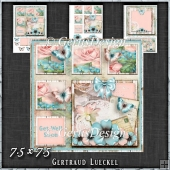 Shabby Vintage Floral Card Kit Turquoise 1452