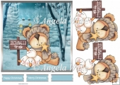 Cosy bear 7x7 card with decoupage