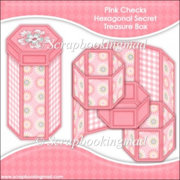 Pink Checks Hexagonal Secret Treasure Box