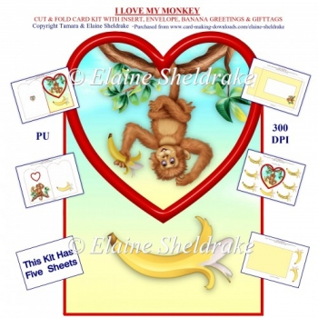 I Love My Monkey - Shaped Card Kit With Insert, Envelope & Tags