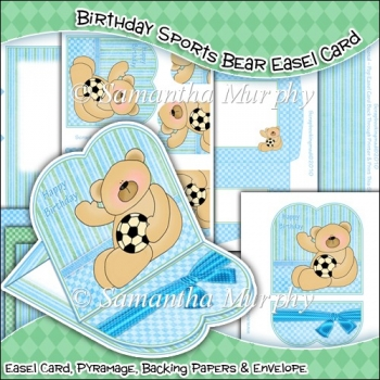 Birthday Sports Bear Easel Card Download