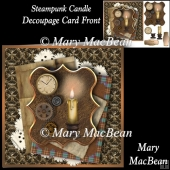 Steampunk Candle Decoupage Card Front