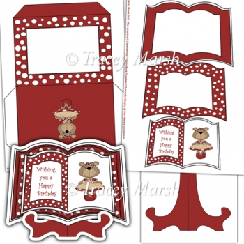 Red Dressed Up Bear Open Book Card Set