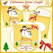 Christmas Snow Couple - Drop Flap Card