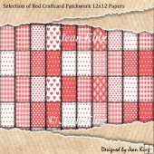 Selection of Red Craftcard Patchwork 12x12 Papers