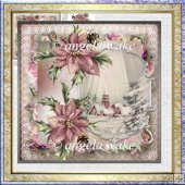Silent night 7x7 card with decoupage